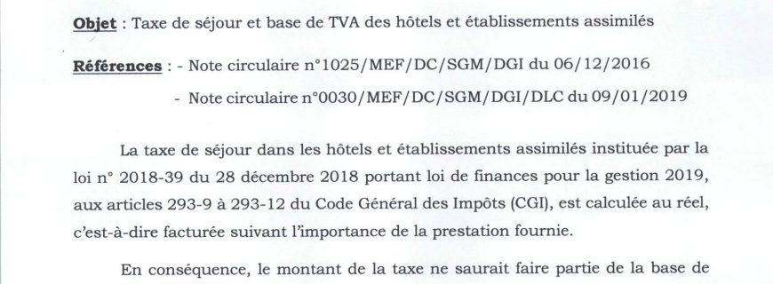 Taxe de séjour et base de TVA des hôtels et établissements assimilés