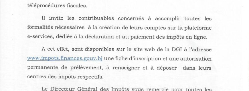 CIME Littoral, Atlantique et Borgou-Alibori: déclarez et payez vos impôts de janvier 2019 en ligne