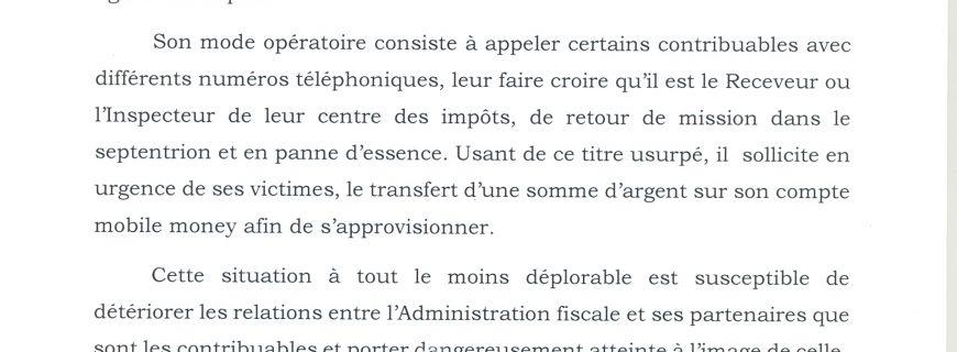 Actes d'escroquerie : Nicolas YENOUSSI invite les contribuables à la vigilance