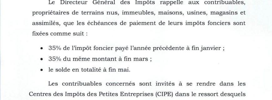 RAPPEL DES ECHEANCES DE PAIEMENT DES IMPÔTS FONCIERS