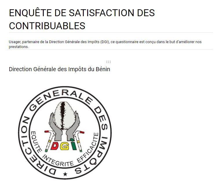 ENQUÊTE DE SATISFACTION DES CONTRIBUABLES