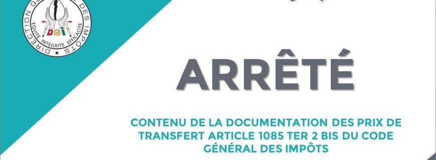 ARRÊTÉ CONTENU DE LA DOCUMENTATION DES PRIX DE TRANSFERT ARTICLE 1085 TER 2 BIS DU CODE GÉNÉRAL DES IMPÔTS