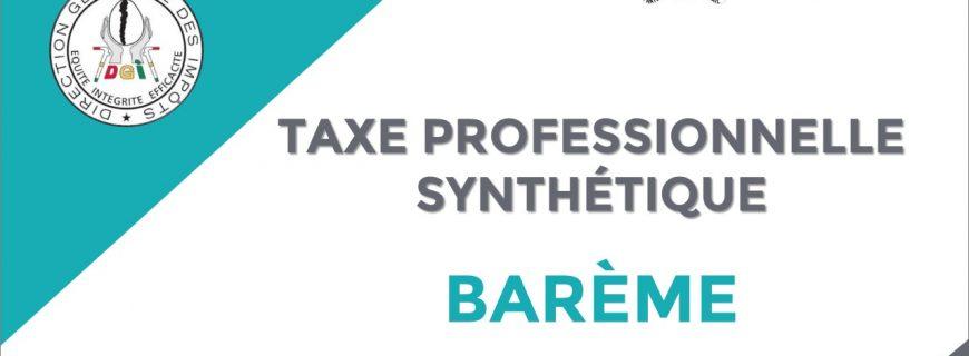 BARÈME DE LA TAXE PROFESSIONNELLE SYNTHÉTIQUE