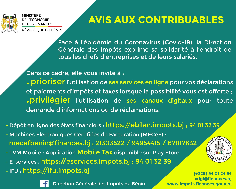 AVIS AUX CONTRIBUABLES-CORONAVIRUS