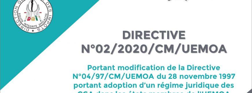 Directive N°02/2020/CM/UEMOA portant modification de la Directive N°04/97/CM/UEMOA portant adoption d'un régime juridique des CGA dans les états membres de l'UEMOA