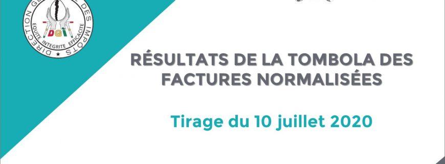 RÉSULTATS DE LA TOMBOLA DES FACTURES NORMALISÉES : Tirage du 10 juillet 2020