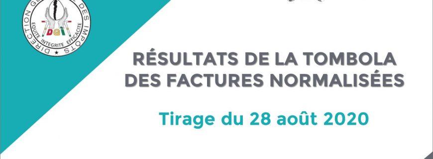 RÉSULTATS DE LA TOMBOLA DES FACTURES NORMALISÉES : Tirage du 28 août 2020