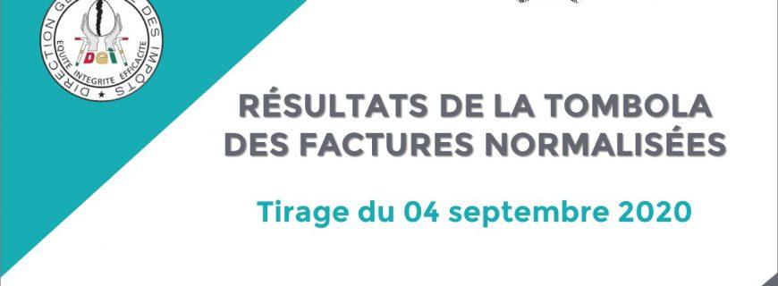 RÉSULTATS DE LA TOMBOLA DES FACTURES NORMALISÉES : Tirage du 04 septembre 2020