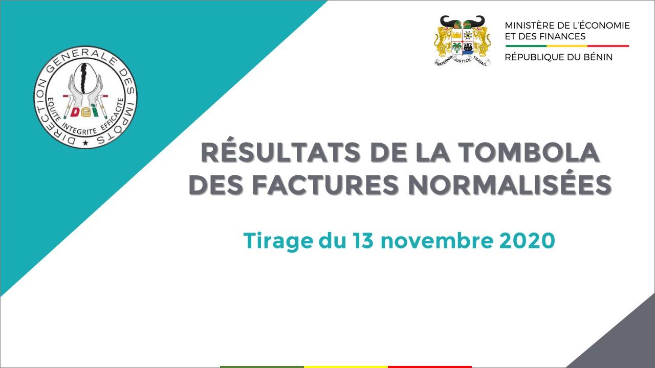 RÉSULTATS DE LA TOMBOLA DES FACTURES NORMALISÉES : Tirage du 13 novembre 2020
