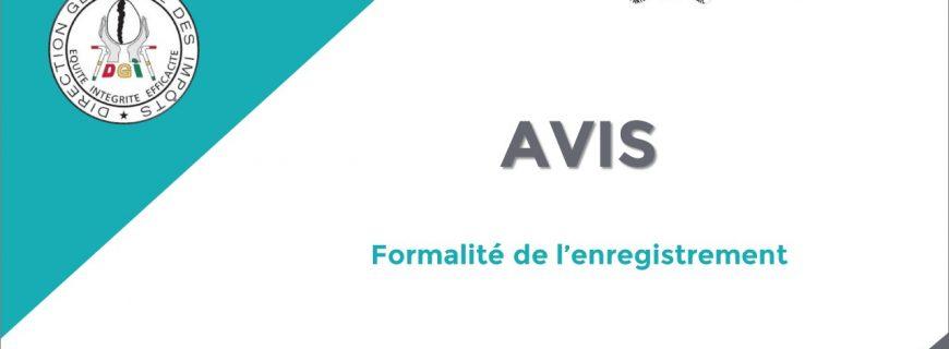 AVIS AUX USAGERS DES SERVICES DE L'ENREGISTREMENT ET DU TIMBRE