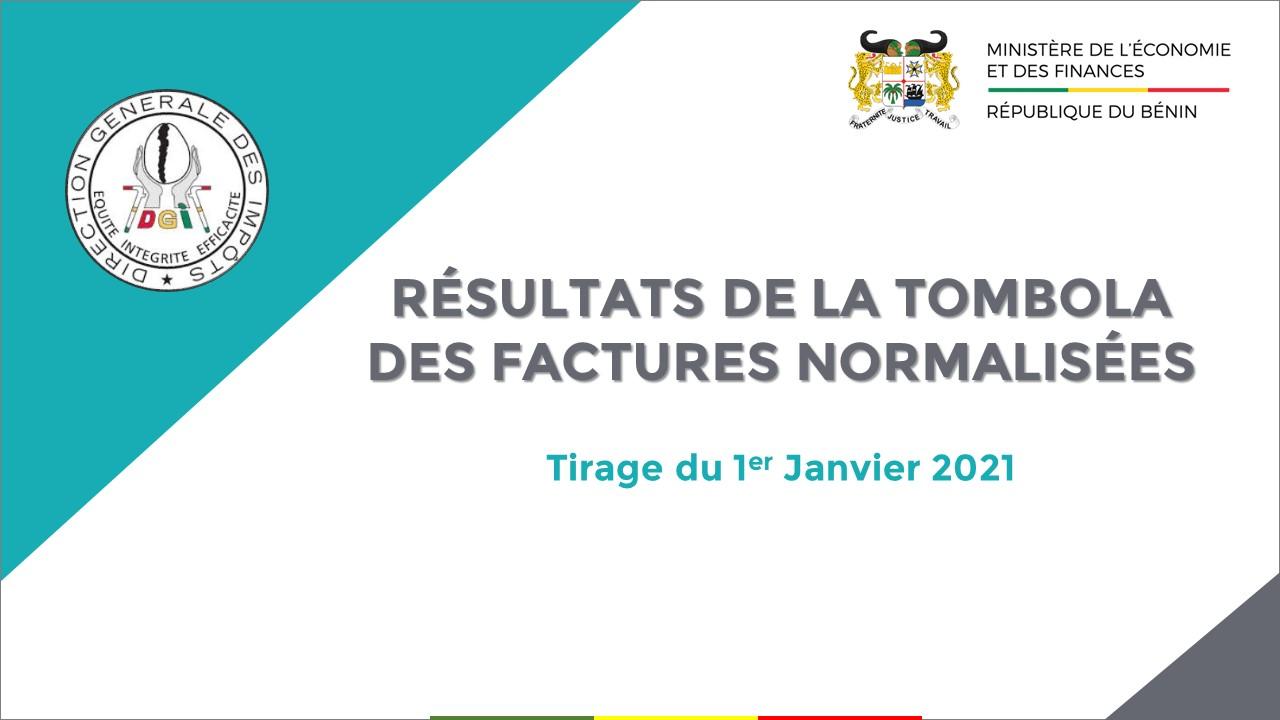 RÉSULTATS DE LA TOMBOLA DES FACTURES NORMALISÉES : Tirage du 1er janvier 2021