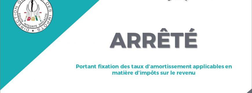 ARRÊTÉ PORTANT FIXATION DES TAUX D'AMORTISSEMENT APPLICABLES EN MATIÈRE D'IMPÔTS SUR LE REVENU