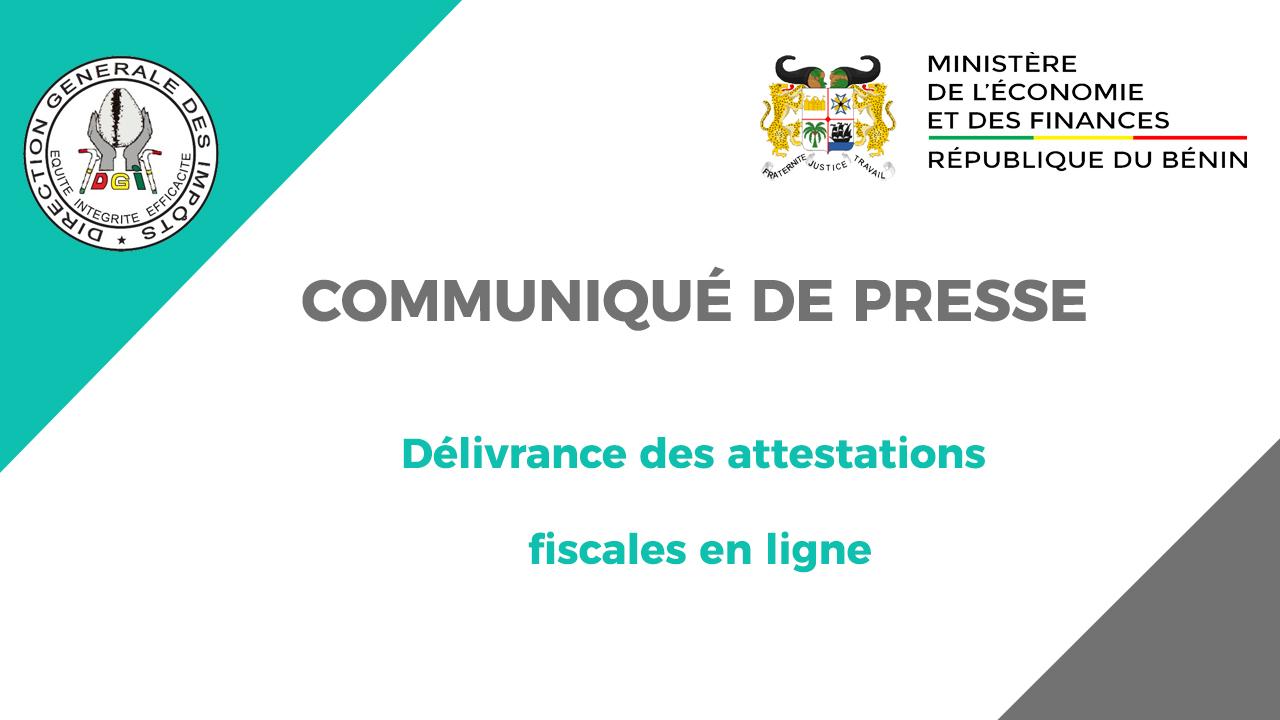 COMMUNIQUÉ DE PRESSE : DÉLIVRANCE DES ATTESTATIONS FISCALES EN LIGNE